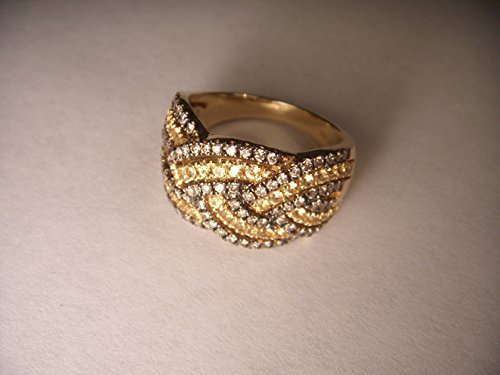 Rare 14K Gold Champagne Diamond Yellow Sapphire Braided Wide Wedding Band Ring Braided Gold Diamond Wedding Band