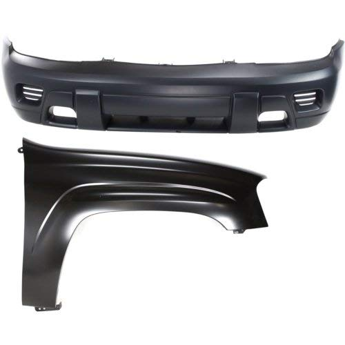 Chevrolet Trailblazer Bumper Cover - Bumper Cover Kit Compatible with CHEVROLET TRAILBLAZER 2002-2009 Set of 2 With Front Bumper Cover and Fender (Right Side)