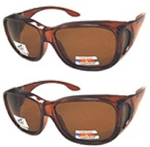 Men and Women Unisex Polarized Fit Over Sunglasses - Wear Over Prescription Glasses. Size Large. (2 Pair) Brown (2 Carrying Case - Sunglasses Inexpensive Prescription