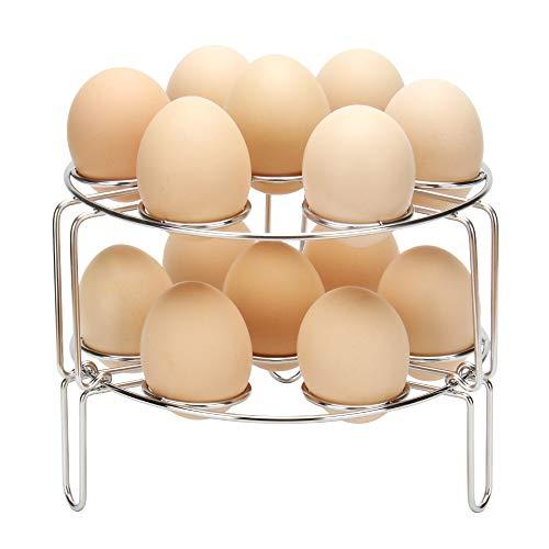 (Createy Stackable Egg Steamer Rack Trivet Egg Rack for Instant Pot Accessories 5,6,8 qt, Egg Accessories Steaming Rack Stand Basket Holder for Pressure Cooker & Other Pots)