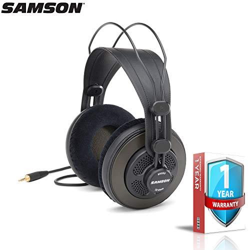 Samson SR850 Semi-Open Studio Reference Headphones with Extended Warranty Bundle