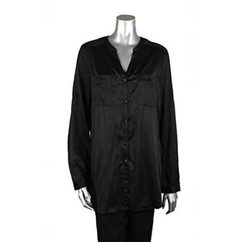 Ellen Tracy Black Long Sleeve Two Pocket Buttoned Blouse Size Small Black