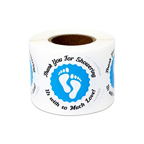 - 300 Labels - Baby Shower Stickers for Thank You Appreciation Babies Gender Reveal (1.5 Inch Blue - 1 Roll)