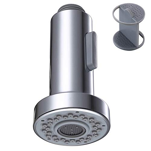 Kitchen Faucet Sprayer Head, Angle Simple Pull Out Sink Faucet Spray Head Nozzle Kitchen Pull Down Faucet Nozzle Spout Replacement Part 2 Functions, Chrome