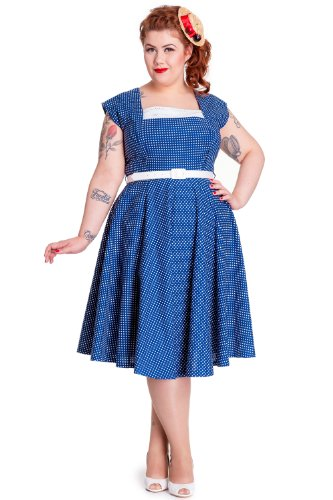 hell bunny blue polka dot dress - 5