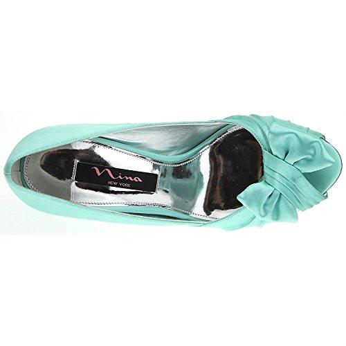 GREEN Pump Satin CRYSTAL Forbes Toe SEA SATIN Nina Women's Peep WH0qnUw1C