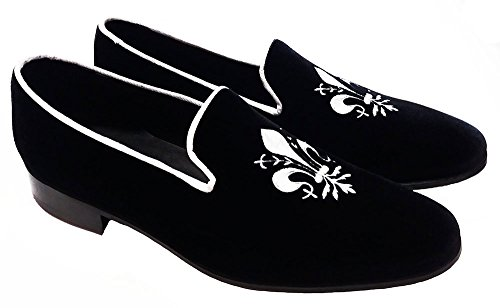 giglio ricamo slippers in velluto Gianbattista Garofalo personalizzabili nero con nS60PRxxqw