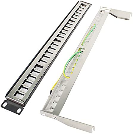 ShineBear 191U Metal Shielded 24 Port Patch Panel FTP Cabinet Rack Distribution Frame RJ45 Network Cable Adapter CAT6 7 5 Keystone Jack Cable Length: 1U, Color: Modules Patch Panel