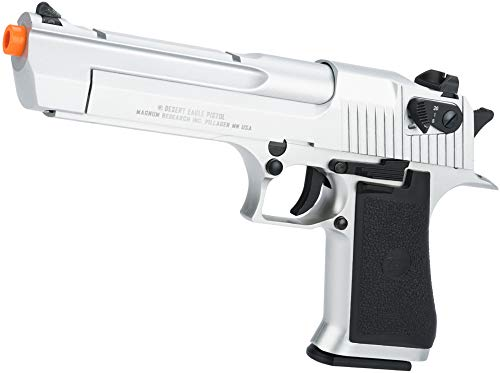 Evike Magnum Research Licensed Semi/Full Auto Metal Desert Eagle CO2 Gas Blowback Airsoft Pistol by KWC (Color: Silver)