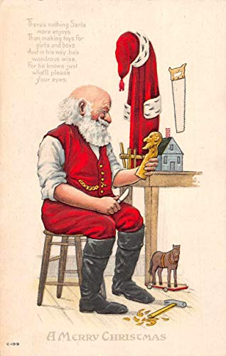 Christmas Greetings Santa Claus Wood Carving Carpentry Vintage Postcard JE228468 ()