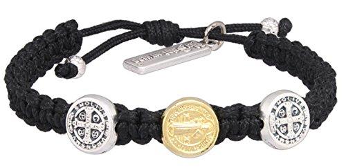 My Saint My Hero First Holy Communion Benedictine Cross Child of God Bracelet, Adjustable (Black)