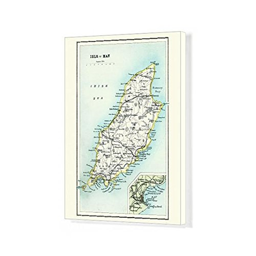 Media Storehouse 20x16 Canvas Print of Antique map, Isle of Man 19th Century (15231369) ()