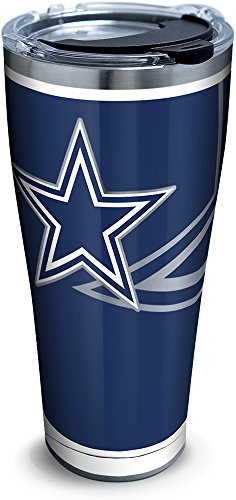 Tervis 1299908 Nfl Dallas Cowboys Rush Stainless Steel Tumbler With Lid, 30 oz, Silver ()