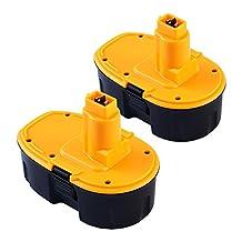 GERIT BATT Replacement Battery for Dewalt 18V 3.0Ah NI-MH DC9096 DC9099 Cordless Drill(2PACKS)