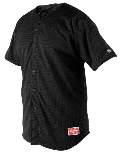 (Rawlings Men's Full Button RBJ167 Jersey , Black,)