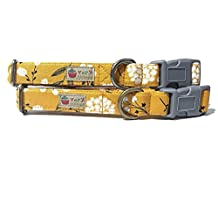 """Marigold Fields - Very Vintage Shabby Chic Gold Yellow Gray White Girly Floral Flowers Organic Cotton Pet Collar - Handmade in The USA (3/8"""" XS Dog, Antique Silver)"""