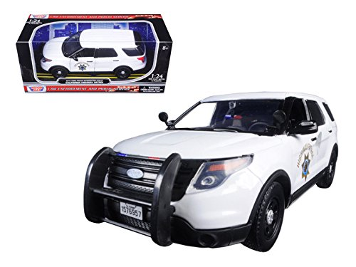 Motormax 76957 2015 Ford Interceptor Police Utility California Highway Patrol (CHP) White 1/24 Diecast Model Car