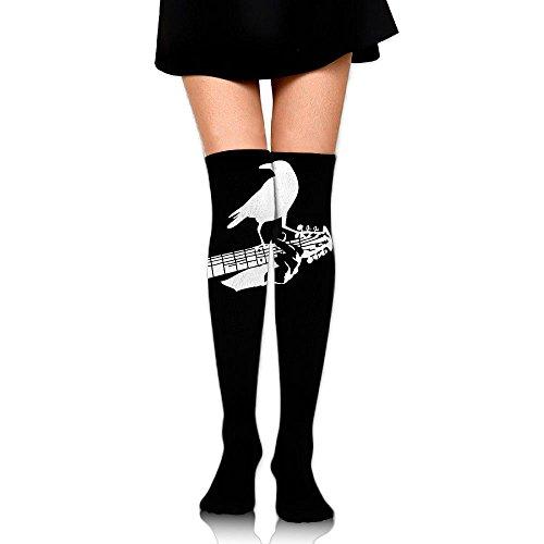 Crow Guitar Long Socks Knee Soccer Socks For Women   Girls   Best For Hiking  Medical  Soccer  Football  Nursing  Travel   Flight Socks