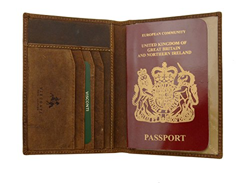 Visconti Soft Leather Secure RFID Blocking Passport Cover Wallet - POLO 2201, Oil Tan, One (Secure Tan Leather)