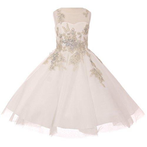 CrunchyCucumber Big Girls Satin Soft Tulle Illusion Neck Sleeveless Flower Lurex Embroidery Girl Dress Ivory - Size 12 by CrunchyCucumber