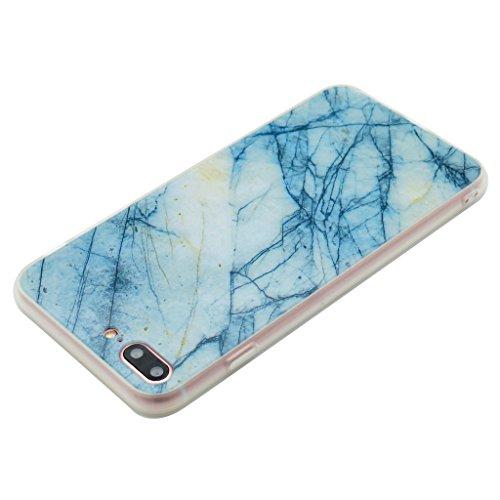 Coque Cover iPhone 7 Plus, IJIA Ultra-mince Motif Marbre Naturel Rock Bleu Clair PC Dur et Les TPU Doux (2 en 1) Plastique Silicone Hard Bumper Case Cover Shell Coque Housse Etui pour Apple iPhone 7 P