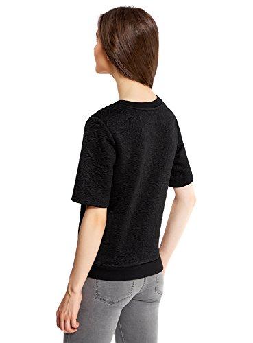 oodji Collection Mujer Suéter de Tejido Texturizado con Manga Corta Negro (2900N)