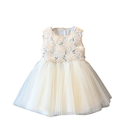 (Feitong Kid Girls Princess Rose Sequined Lace Tutu Princess Sweet Dress Sleeveless Voile Dress)
