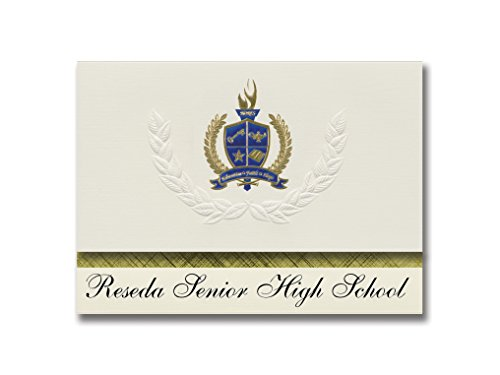 Signature Announcements Reseda Senior High School (Reseda, CA) Graduation Announcements, Presidential style, Elite package of 25 with Gold & Blue Metallic Foil seal
