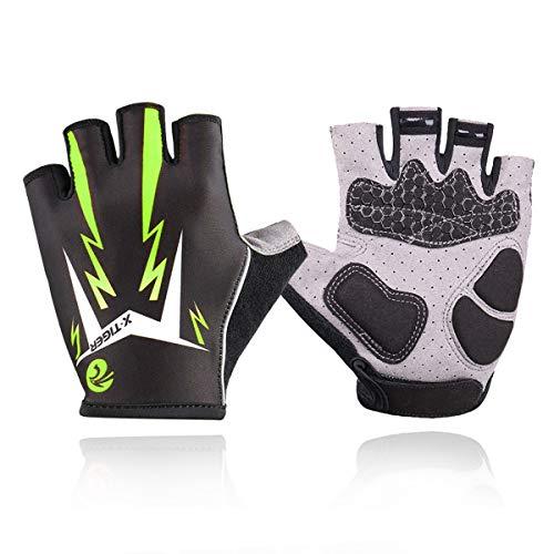 X-TIGER Cycling Gloves Mountain Bike Gloves Road Racing Bicycle Gloves Light 3D Gel Pad Riding Gloves Half Finger Biking Gloves Men Women Work Gloves (Green, M)