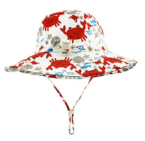 DANMY Baby Boy Baseball Cap Striped Sunhat Girl Brim Sun Protection Bow Hat (Bucket hat5 (red))