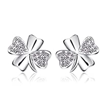 B.Catcher Stud Earrings Lucky 925 Sterling Silver Cubic Zirconia Earring Studs