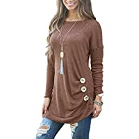 Muhadrs Womens Long Sleeve Casual Round Neck Loose Tunic Top Blouse T-Shirt