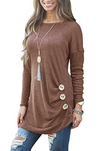 Muhadrs Women's Cotton Knitted Long Sleeve Lightweight Tunic Sweatshirt Tops Brown XL - Le Top Jumper