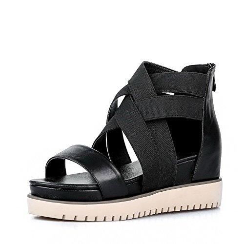 AgooLar Women's Open Toe Low Heels Zipper Solid Sandals Black rJngJKItyx
