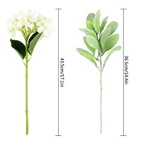 CEWOR 3pcs Artificial Hydrangea Flowers with 2pcs Fake Leaves Fake Silk Flowers for Home Wedding Garden Party Decor, (White) by CEWOR (Image #1)