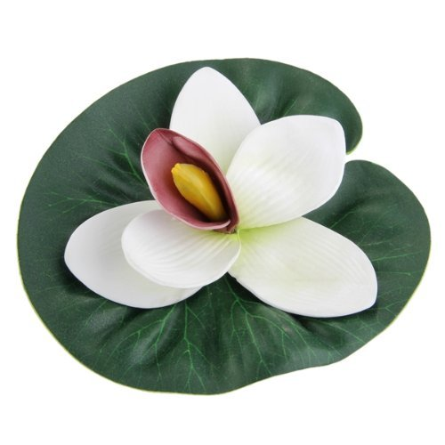 SODIAL(R) Fleur Lotus Plante Artificiel Flottant Plastique Blanc Deco pour Aquarium 027952