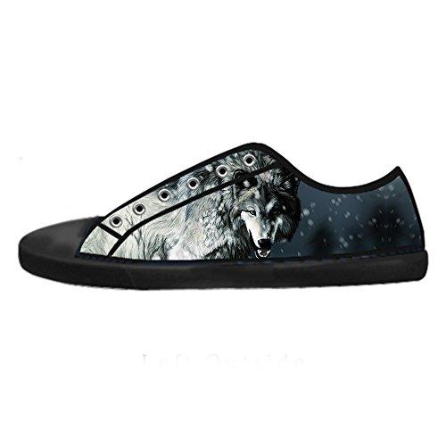 Les Chaussures De Toile De Womens De Toile De Wolf Et De Lune Faites Sur Commande Les Chaussures De Lacets Chaussures Baskets Montantes
