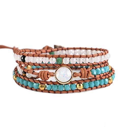 Opal Wrap Bracelet - YGLINE Women Bracelets Natural Opal Stone Rhinestone 3 Rows Leather Wrap Bracelet Fancy Femme Boho Bracelets(Opal Stone)