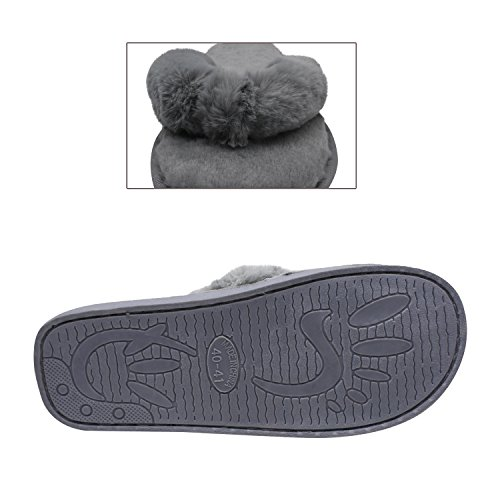 COFACE Fashion Plush Flip-Flops Soft House Indoor Spa Bedroom Slippers Shoes for Ladies Womens Grey i3hmXe
