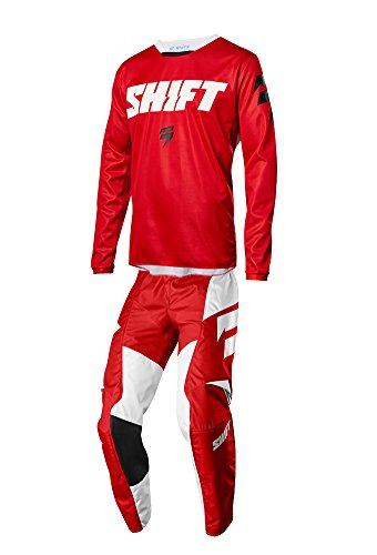 Red Mx Gear - Shift Racing 2018 White Label Ninety Seven Combo Red Pants Jersey Riding Gear Dirtbike MX ATV Offroad Adult Mens