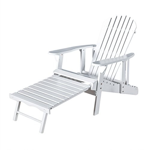 Denise Austin Home Katherine Outdoor Reclining Wood Adirondack Chair with Footrest