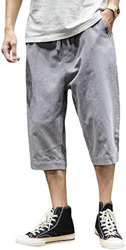 [FOMANSH]カジュアルパンツ サルエルパンツ メンズ 7分丈 無地 ストレート 春 夏 綿 ゆったり ポケット付き M-5XL