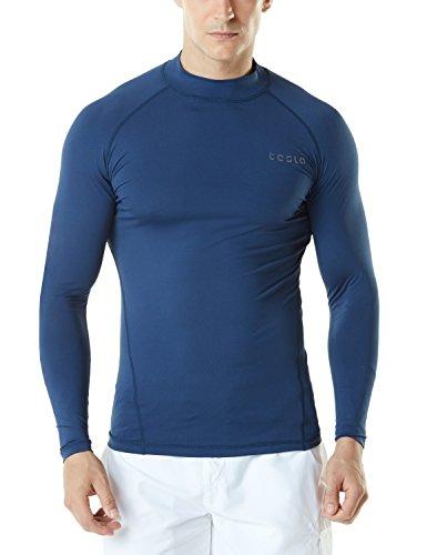 TSLA Men's UPF 50+ Long Sleeve Rashguard, Basic(msr19) - Navy, ()