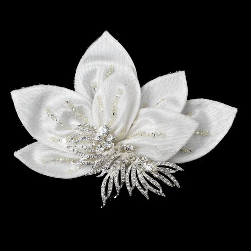 RaeBella Weddings Lovely Ornate Ivory Floral Hair Clip with Silver Rhinestone Accent