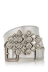 Crystal Cluster Silver Leather Belt