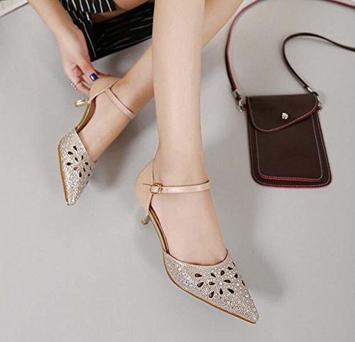 Lady 35 Shoes gold Sizie Court Shoes Wedding Ankle Eu Sandals Strap Heels Diamond Casual High 40 Dress Shoes Shoes Hollow Toe Pointed Shoes Kitten Pump D'orsay Dancing Heel 4cm Charming Sandals wq77Sgf