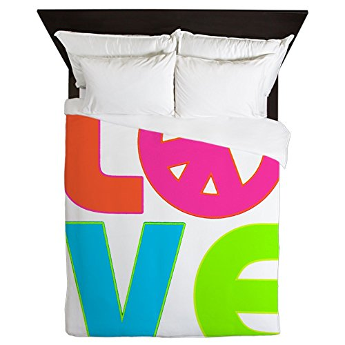 Queen Duvet Cover Neon Love with Peace Symbol Sign by Royal Lion