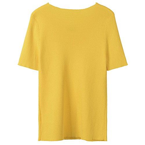 Versátil T shirt Corto Amarillo Xmy De Corta Manga Y Letras Negras Girls awq8ztpU