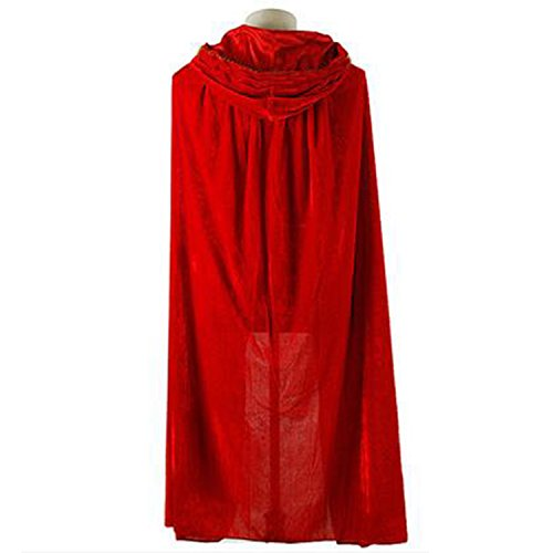 Cloak with Hood Costume Hooded Cape Crushed Velvet For Men Women (43 - 66inches) Red (Red Skull Costume)