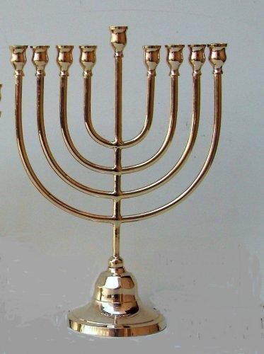 - Chanukah Menorah in Traditional Design, Shiny Brass Menorah